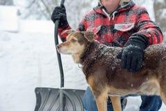 Man och hans hund som skyfflar snö Arkivfoton