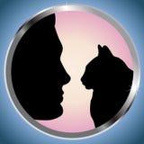 Man och katt Fotografering för Bildbyråer