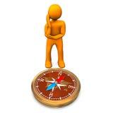 Man och kompass royaltyfri illustrationer
