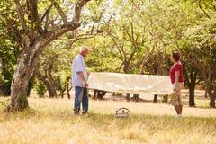 Man och kvinna för pensionerade par som hög gör picknicken Arkivfoto