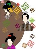 Man och kvinna (gamla Japan) Arkivfoto