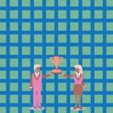 Man och kvinna i affärsdräkten som tillsammans dem emellan rymmer koppen för mästerskapvinnaretrofé idérik bakgrund royaltyfri illustrationer