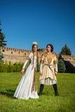 Man och kvinna i nationell klänning av Georgia Royaltyfria Bilder