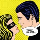 Man och kvinna i svarta par för superheromaskeringsförälskelse i komisk stil för tappningpopkonst stock illustrationer