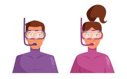 Man och kvinna i undervattens- dräktvektor cartoon Isolerad konst vektor illustrationer