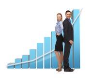 Man och kvinna med grafen 3d Arkivfoto