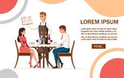 Man och kvinna p? datum i restaurang, uppassare med menyn Tabell med r?tt vinflaskan, kandelaber och italiensk pasta huvudet f?r  royaltyfri illustrationer