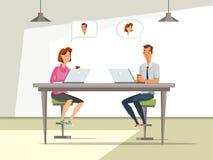 Man och kvinna på illustrationen för vektor för jobbintervju royaltyfri illustrationer