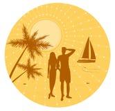Man och kvinna på strand royaltyfri illustrationer