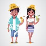 Man och kvinna på stranden Sommar Hav semester  Fotografering för Bildbyråer