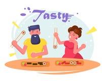 Man och kvinna som äter sushivektorn cartoon isolerat royaltyfri illustrationer