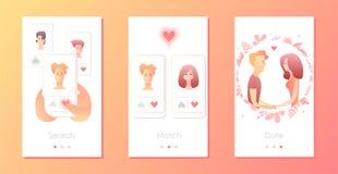Man och kvinna som använder den mobila applikationen för att datera eller sökande av den romantiska partnern på internet royaltyfri illustrationer