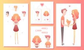 Man och kvinna som använder den mobila applikationen för att datera eller sökande av den romantiska partnern på internet stock illustrationer