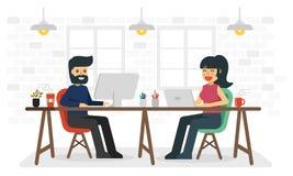 Man och kvinna som arbetar i coworking utrymme royaltyfri illustrationer