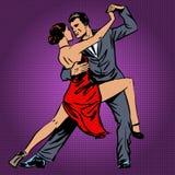 Man och kvinna som dansar passionately tangopopkonsten royaltyfri illustrationer