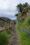 Man och kvinna som fotvandrar på La Palma, kanariefågelöar, Spanien Arkivfoto