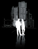 Man och kvinna som går i city2en Royaltyfri Bild