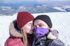 Man och kvinna som gör selfie Arkivfoto