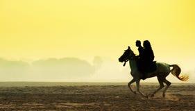 Man och kvinna som rider en häst Royaltyfri Fotografi