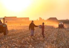 Man och kvinna som skakar händer på fält Royaltyfria Bilder