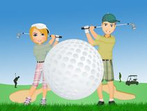 Man och kvinna som spelar golf royaltyfri illustrationer