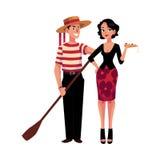 Man och kvinna som symboliserar italienska traditioner, mode, kokkonst stock illustrationer
