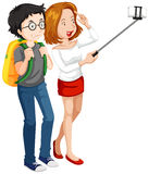 Man och kvinna som tar selfie stock illustrationer