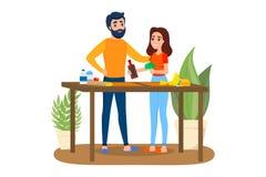 Man och kvinna som tillsammans lagar mat Maka och fru vektor illustrationer