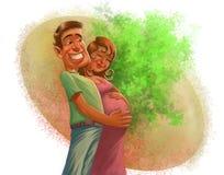 Man och kvinna som väntar på en behandla som ett barn Arkivfoton