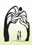 Man och kvinna under tree vektor illustrationer