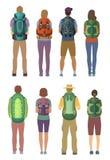 Man- och kvinnaanseende med den utomhus- ryggsäcken Vektorbilder i tecknad filmstil royaltyfri illustrationer
