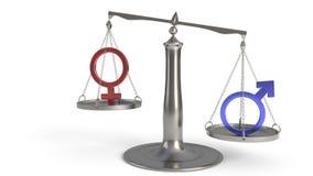 Man- och kvinnabegrepp av jämvikt, tolkning 3d stock illustrationer