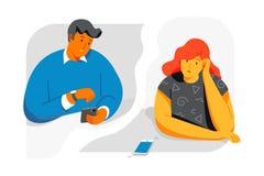 Man- och kvinnablick på telefonen och att vänta på en appell från de Plana illustrationer för stildesignvektor royaltyfri illustrationer