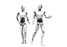 Man- och kvinnacyberrobotar Royaltyfria Bilder