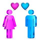 Man- och kvinnaförälskelsebegrepp Arkivfoto