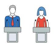 Man- och kvinnahögtalare, talare, färgrika vektorsymboler Arkivbilder