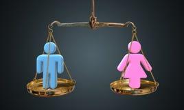 Man- och kvinnajämställdhetbegrepp Vågen jämför män och kvinnor royaltyfria foton