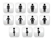 Man- och kvinnakroppstypknappar - banta, fett, sjukligt fett som är tunt Arkivbild