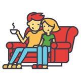 Man- och kvinnasammanträde på det hemmastadda begreppet för soffa stock illustrationer