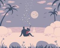Man- och kvinnasammanträde på stranden stock illustrationer
