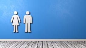 Man- och kvinnasymbol på den blåa väggen Arkivfoton