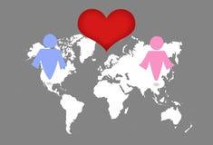 Man- och kvinnasymbol på världskarta Royaltyfria Bilder