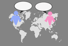 Man- och kvinnasymbol på världskarta stock illustrationer