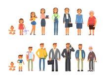 Man- och kvinnatecken royaltyfri illustrationer