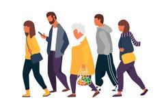 Man- och kvinnatecken Folkmassa av folk som går i höstkläder också vektor för coreldrawillustration stock illustrationer