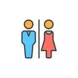 Man- och kvinnatoaletten fodrar symbolen, det fyllda översiktsvektortecknet, den linjära färgrika pictogramen som isoleras på vit vektor illustrationer