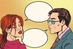Man och kvinnlig dialog för kyssen royaltyfri illustrationer