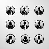 Man och kvinnlig för uppsättning för profilsymbolsaffär Arkivfoto
