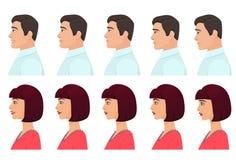Man och kvinnlig uppsättning för profilavatarsuttryck Ansikts- profilsinnesrörelser för man och för kvinna från sorgsenhet till l Royaltyfri Bild