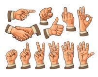 Man och kvinnligt handtecken Näve som, peka som är ok, fred, vektor illustrationer